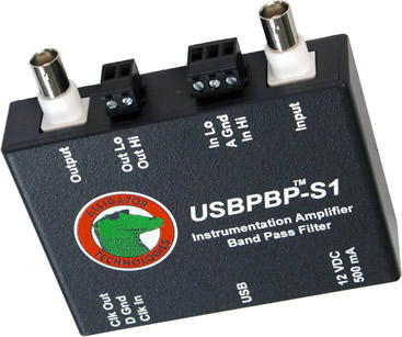 USBPBP-S1 band pass filter with software controlled 8-pole Butterworth, Bessel, Linear Phase, or Cauer-Elliptic low pass filter, and 4-pole Butterworth or Bessel high pass filter, with variable gain instrumentation amplifier.